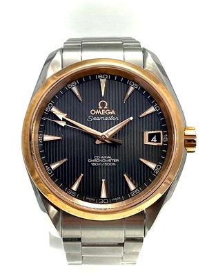 [協益精品當舖]流當品歐米茄OMEGA海馬系列150米同軸摛縱8500機械精鋼玫瑰金18K腕錶38.5mm
