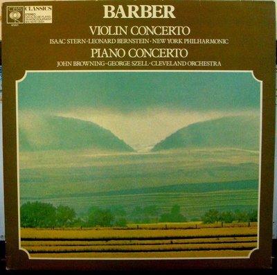 ***黑膠 Stern 史坦 - Barber : Violin & Piano Concertos (英版CBS)