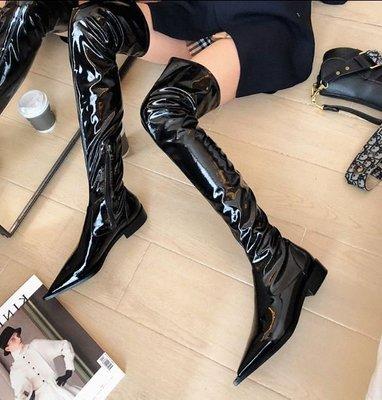【黑店】訂製款真皮大腿靴 彈性漆皮大腿靴 超長膝上靴 暗黑系超長靴 彈性漆皮長筒靴 時尚黑色切爾西靴長靴 SH128