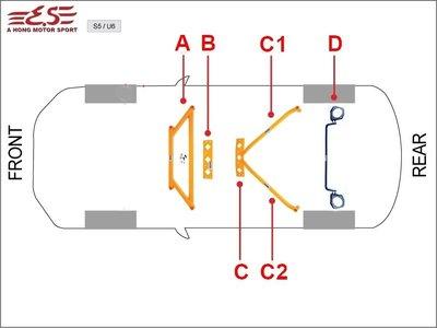 阿宏改裝部品 E.SPRING LUXGEN 納智捷 U6 6件式 拉桿組 井字 後下 後下 防傾桿