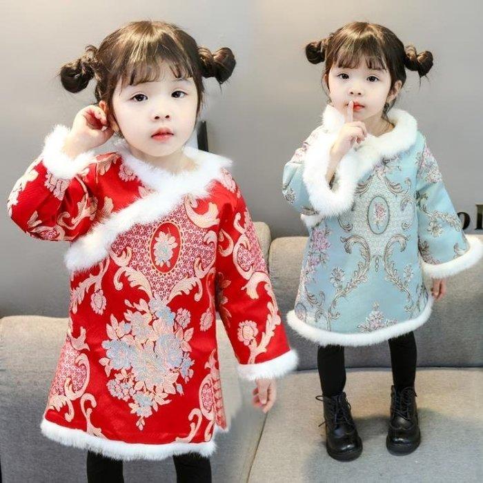 999女童旗袍冬季加厚新年裝女寶寶中國風喜慶拜年服兒童唐裝洋氣棉襖01KK12