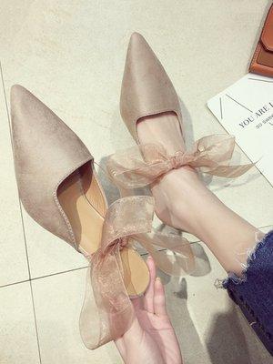 小尤家~涼鞋女夏季新款細跟尖頭韓版百搭綁帶高跟鞋包頭淺口羅馬鞋潮