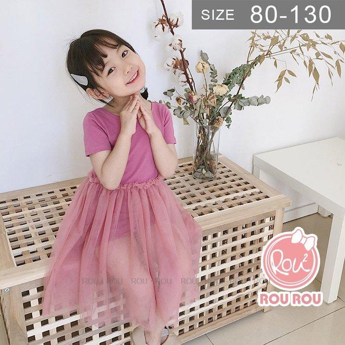 韓版女童洋裝。ROUROU童裝。夏女童中小童背部交叉拼接紗裙洋裝 0226-197