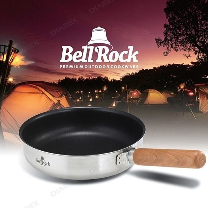 【珍愛頌】A450 韓製不沾平底鍋(24cm) 把手可拆 附收納袋 不鏽鋼平底不沾鍋 露營用平底鍋 Bell Rock