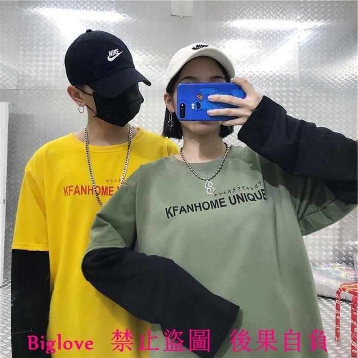 韓國復古字母日文印花假兩件長袖T恤 18AW男女款