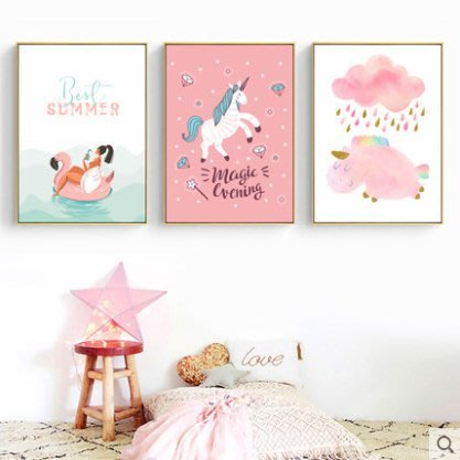 『格倫雅』童伴 北歐風格掛畫女孩兒童房裝飾畫臥室床頭可愛卡通壁畫馬墻畫^9774