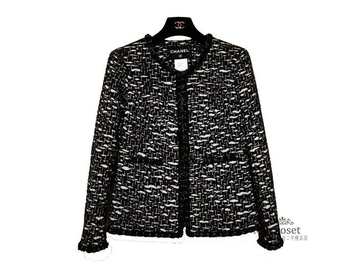 My Closet 二手名牌 Chanel 2010秋冬黑白交織軟呢鑲邊經典外套