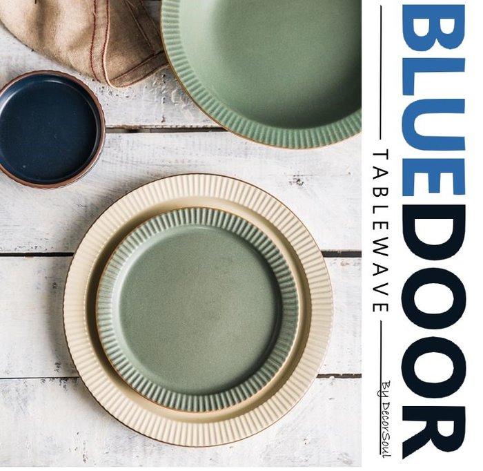 BlueD_ 依藍系列 復古條紋 6吋 圓盤 西餐盤 水果盤 義大利麵 甜點盤 平盤 仿舊陶瓷 創意設計 可微波  歐式