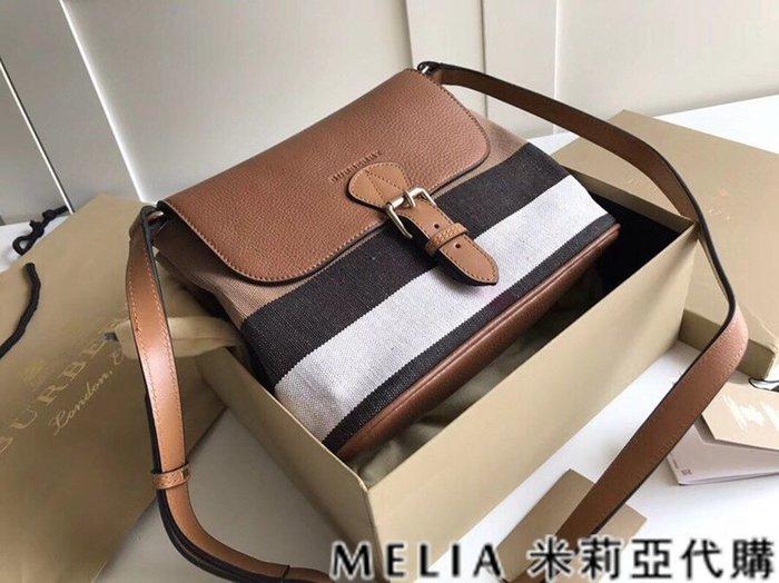 Melia 米莉亞代購 美國精品代購 巴寶莉 戰馬 女士秋冬新款 郵差水桶包 可斜背單肩 帆布配皮 棕色