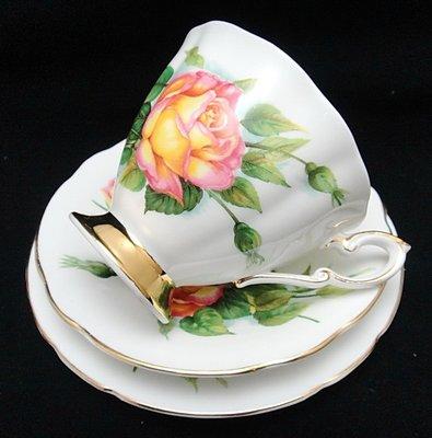 【timekeeper】 英國製Paragon派拉岡世界六大玫瑰系列三件式咖啡杯+盤-5(免運)