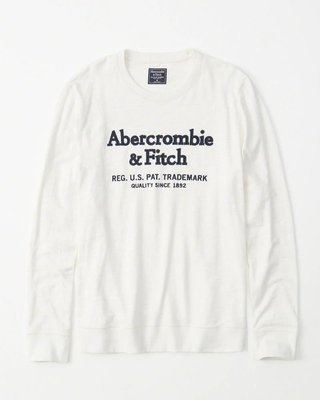 Maple麋鹿小舖 Abercrombie&Fitch * AF 米白色電繡字母長T * ( 現貨M號 )