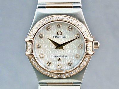 [好時計]Omega 歐米茄 Constellation 星座 原裝鑽圈 玫瑰半金 石英 25.5mm OF115