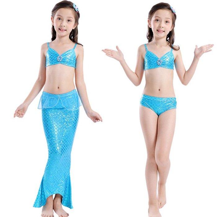 •*~ 辣媽咪衣飾小舖 ~*•❤童裝系列 📣C560830韓版卡通美人鱼尾巴表演泳装(上衣+內褲+魚尾)