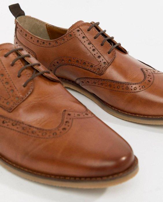 ◎美國代買◎ASOS巴洛克雕花搭配鞋帶牛津鞋設計英倫紳士風尖帶圓雕花鞋帶皮鞋~大腳寬版款~歐美街風~大尺碼