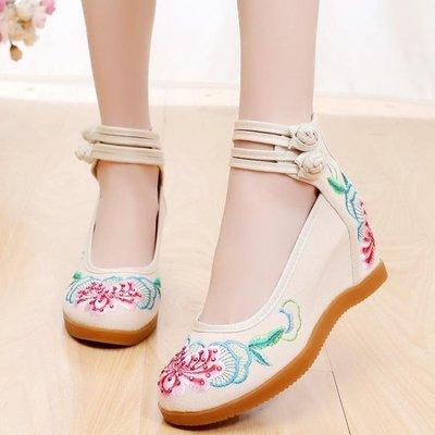 春夏季新款老北京布鞋女民族風內增高跟繡花鞋中國風坡跟單鞋