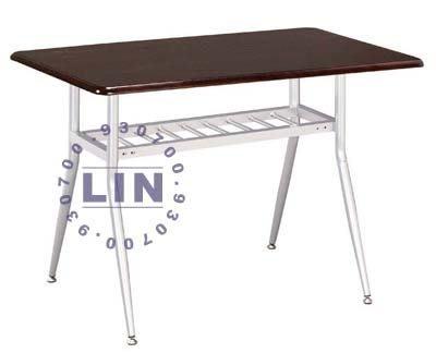 【品特優家具倉儲】R528-22餐桌洽談桌造型烤銀實木長桌
