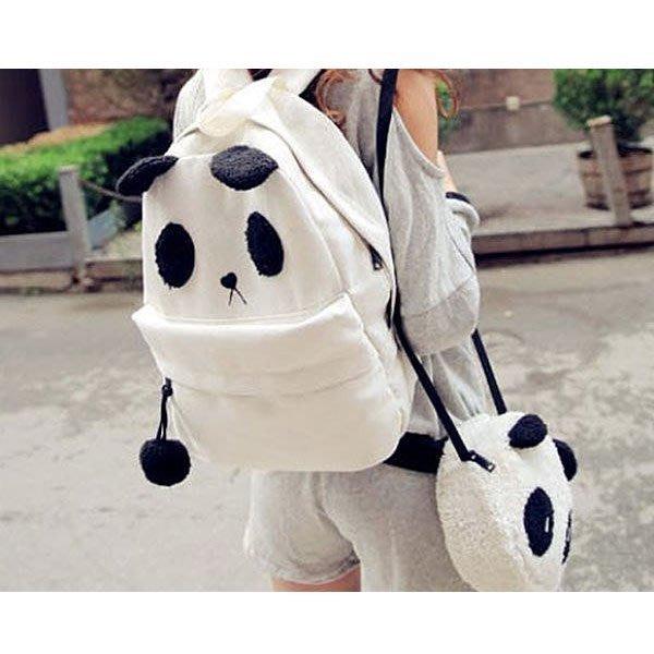 5Cgo 【鴿樓】14744769763 卡通可愛 熊貓帆布包包 學生女包 毛絨斜背包書包 後背包 大+小