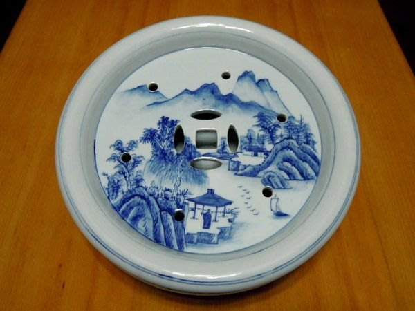 早期青花山水人物茶船-法利堂-直購價18000元.保證真品