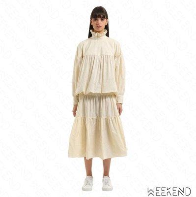【WEEKEND】 KENZO Tiered Dress 層次 塔夫綢 長袖 連衣裙 洋裝 象牙白色