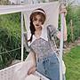 小香風 短袖T恤 時尚穿搭 韓版 時尚長短款氣質碎花連衣裙仙氣減齡小衫女裝潮