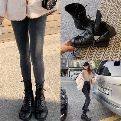 ❤JM SHOP韓風❤中筒馬丁靴黑色真皮平底靴女