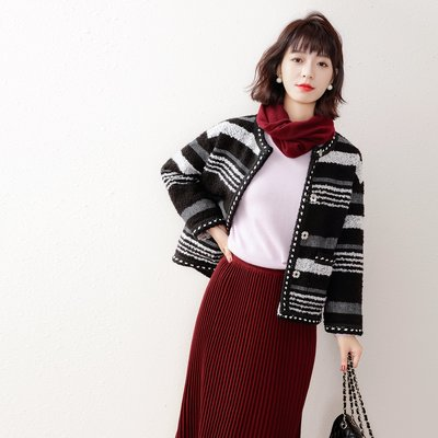 ☆TANG KOREA*╮正韓 撞色條紋 小香風短款外套
