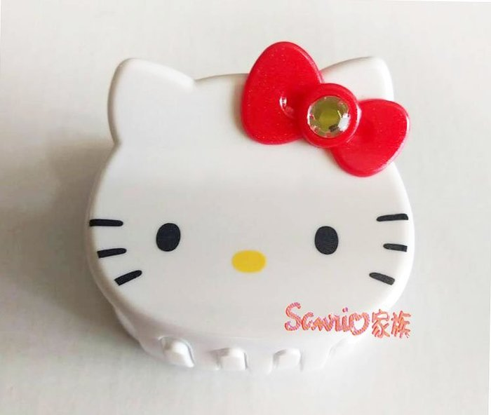 《東京家族》台灣製 Hello kitty 紅色蝴蝶結 白色大頭造型髮夾髮飾鯊魚夾