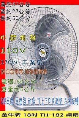 『中部批發』金牛牌 18吋 桌扇 桌地扇 通風扇 太空扇 壁扇 鋁葉桌扇  工業扇 電風扇 落地扇170W(台灣製造)