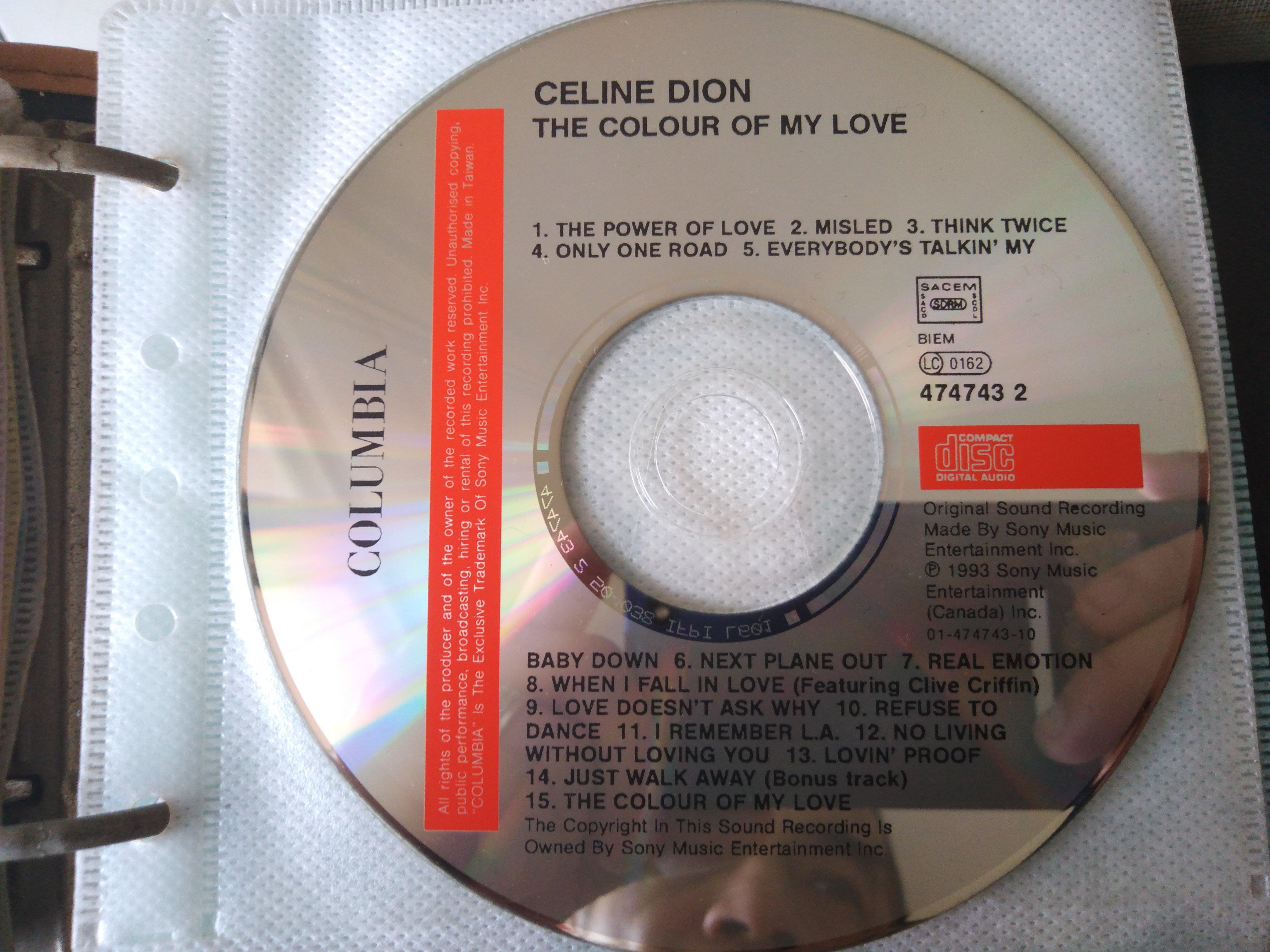 二手CD裸片 ~席琳狄翁Celine Dion (愛的顏色 ) CD 保存良好無刮