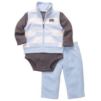 【安琪拉 美國童裝/生活小舖】Carter's 3件式套裝 –藍白條大象背心+包屁衣/連身衣+長褲
