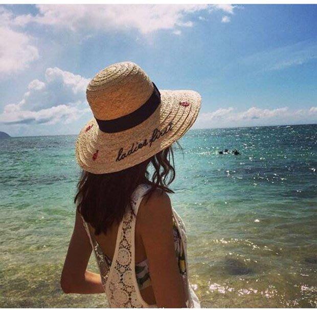 福福百貨~拉菲草手工刺繡瓢蟲英倫太陽帽/遮陽防曬沙灘出遊春夏季大簷草帽~