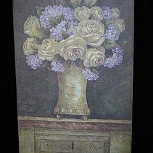 鄉村風仿舊油畫筆觸帆布底框 桌上玫瑰掛畫 廚房 居家店面掛飾 禮物[布拉格家居]