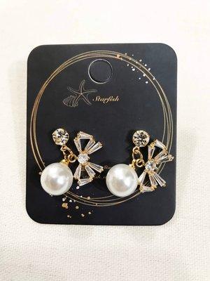 【海星 Starfish】❤️優雅珍珠甜美蝴蝶結耳環