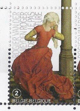 """2009年比利時畫作""""Saint Furnace bridge""""細部郵票"""