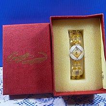【水晶錶】全新絕版 鱷魚錶 (圓白框黃面) 水晶錶帶手圍可調整 附盒 尺寸:9*3.5*2.5㎝ 重量:90g