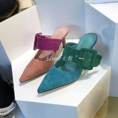 Empress丶韓國女鞋歐洲站尖頭淺口皮帶扣羊猄皮穆勒半拖鞋細高跟A57F