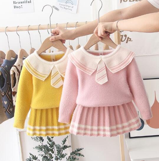 針織洋裝 女童毛衣裙套裝  寶寶公主裙 中小童0-7歲 兒童針織衫 娃娃裙秋冬新款 莎芭