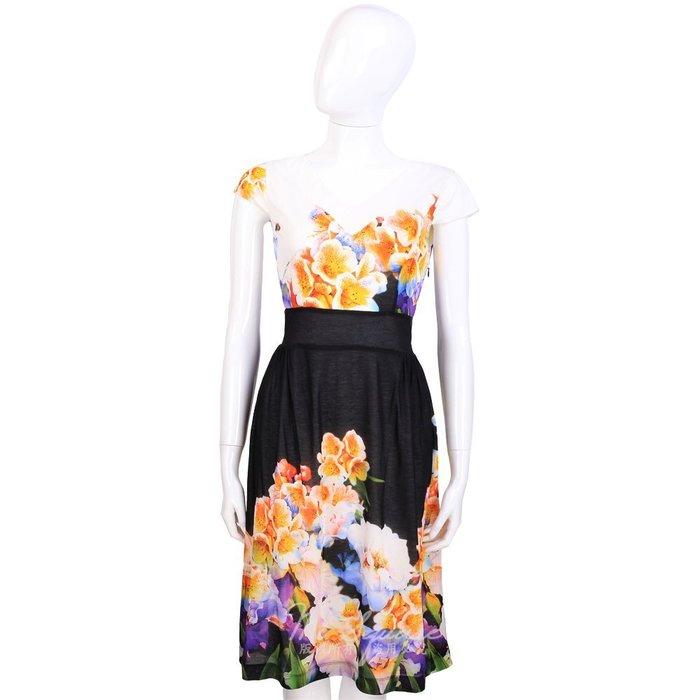 米蘭廣場 CLASS roberto cavalli 黑x白色花卉圖騰V領洋裝 1420090-20