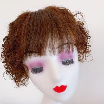 整頂假髮真髮絲短假髮-空氣瀏海小波浪捲髮女假髮2色73vr29[獨家進口][米蘭精品]