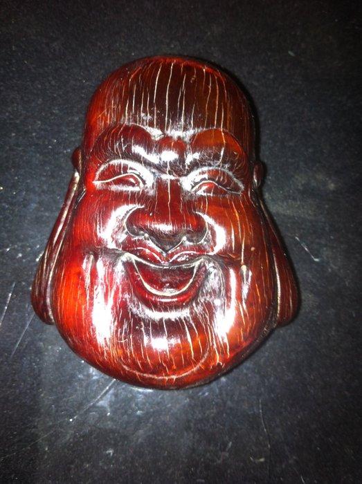 【貝勒爺古文物】K146(清代)老牛角雕(掛件)彌勒佛