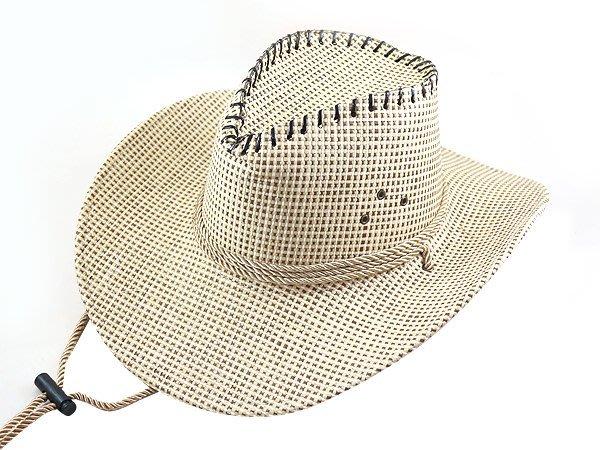【二鹿帽飾】 皮繩滾邊 高質感 麻料 小細格牛仔帽/ 西部帽/ 牛仔帽/表演帽/國小以上表演專用帽-3色