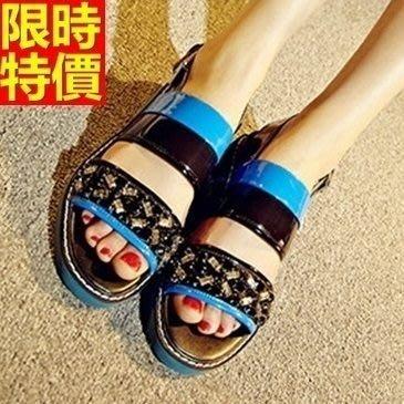 平底涼鞋 夾腳拖鞋-復古彩鑽撞色設計女休閒鞋子2色67d50[獨家進口][米蘭精品]