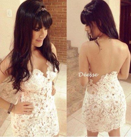 《現貨》 超性感全蕾絲露背禮服洋裝14D041225