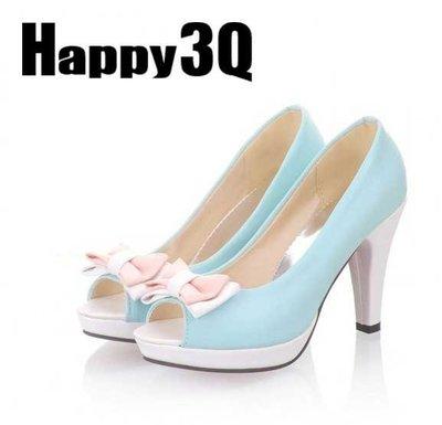 蝴蝶結拼色粗跟馬卡龍魚口高跟鞋-米/藍/粉/白33-43【AAA0168】預購