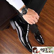 冬季加絨棉鞋男士韓版皮鞋男商務正裝內增高休閒黑色尖頭保暖皮鞋  【晴晴小屋】