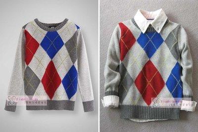 。2隻兔子優質童裝。H&M 男童 圓領菱格棉線針織衫/毛衣2-8Y(RB51) 秋冬款