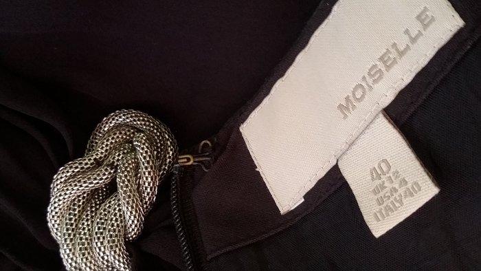 香港貴婦愛牌慕詩【MOISELLE 】金屬腰飾黑色雪紡絲洋裝