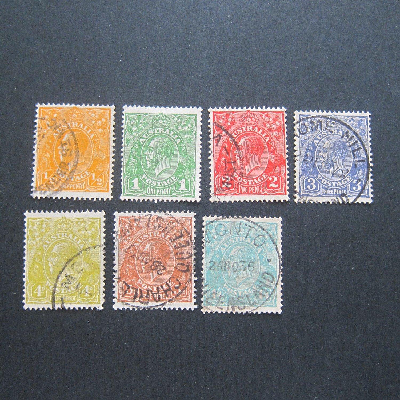 【雲品】澳大利亞Australia 1921 Sc 66,67,71-73,75-76 FU