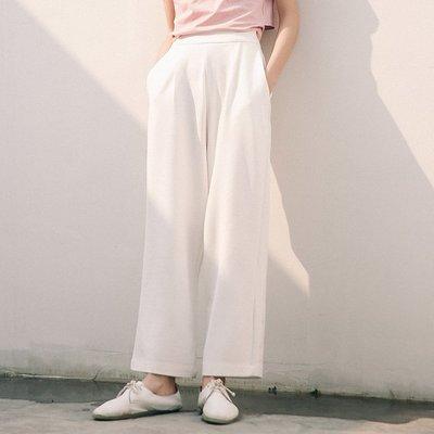 SeyeS 個性時尚基本款白色長寬褲...