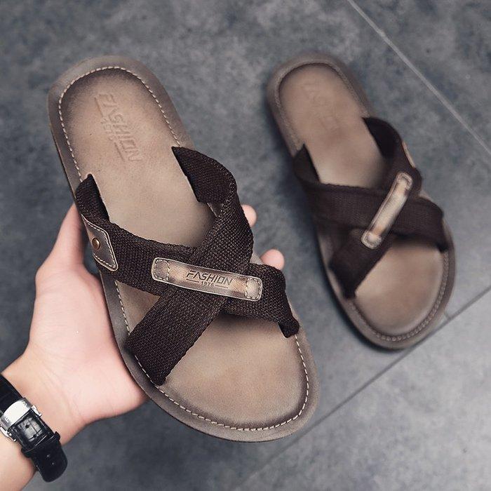 6Du spot~香港正品2020夏新款一字拖鞋男潮室外涼拖時尚外穿防滑沙灘鞋涼鞋